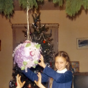My sister with the Pinata I made in 1973