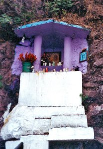 Cliffside shrine to the Virgin of Guadalupe in Michoacan